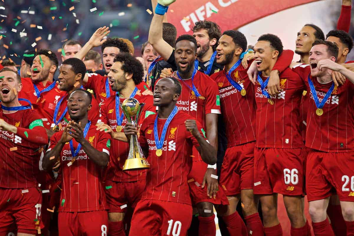 DOHA, QATAR - Saturday, December 21, 2019: Liverpool's Sadio Mané lifts FIFA Club World Cup trophy after the FIFA Club World Cup Qatar 2019 Final match between CR Flamengo and Liverpool FC at the Khalifa Stadium. Liverpool won 1-0. (Pic by David Rawcliffe/Propaganda)