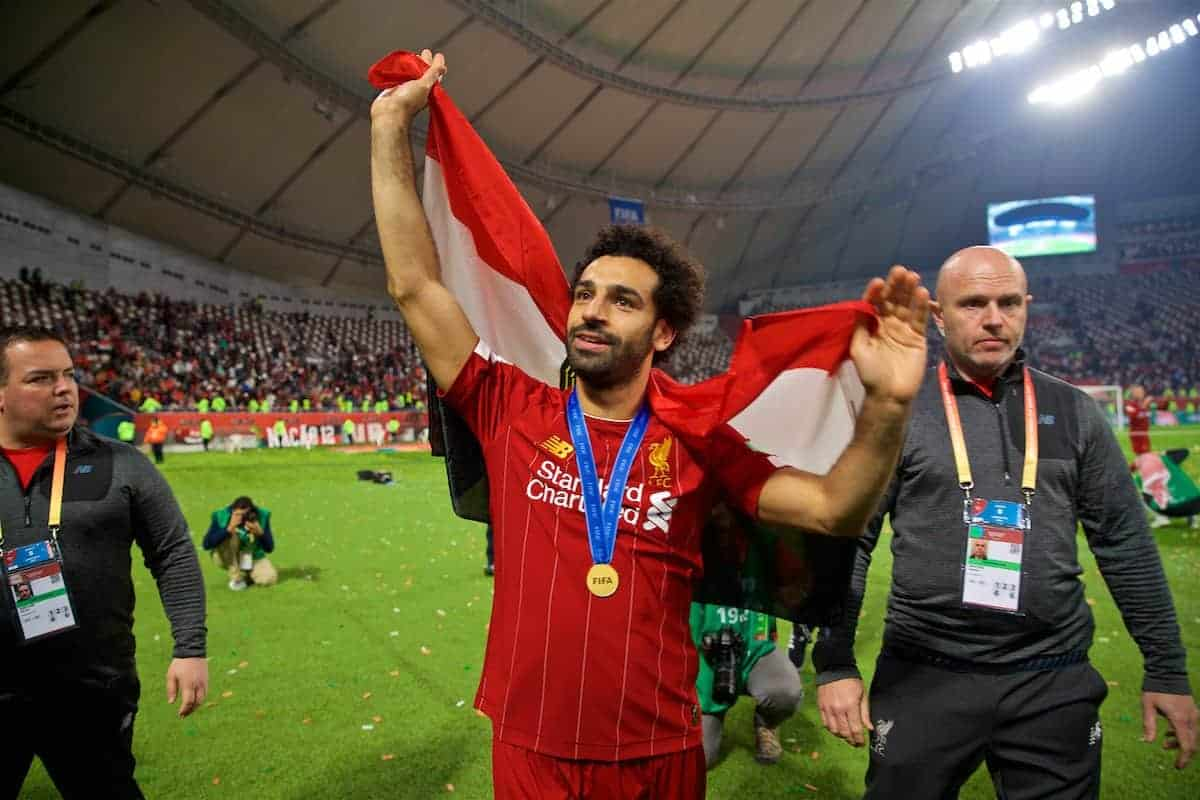 DOHA, QATAR - Saturday, December 21, 2019: Liverpool's Mohamed Salah with his winners' medal and Egypt flag after the FIFA Club World Cup Qatar 2019 Final match between CR Flamengo and Liverpool FC at the Khalifa Stadium. Liverpool won 1-0 after extra time. (Pic by David Rawcliffe/Propaganda)