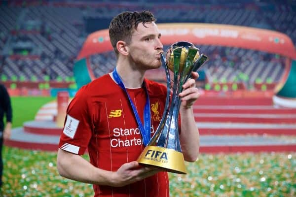DOHA, QATAR - Saturday, December 21, 2019: Liverpool's Andy Robertson kisss the trophy after the FIFA Club World Cup Qatar 2019 Final match between CR Flamengo and Liverpool FC at the Khalifa Stadium. Liverpool won 1-0 after extra time. (Pic by David Rawcliffe/Propaganda)