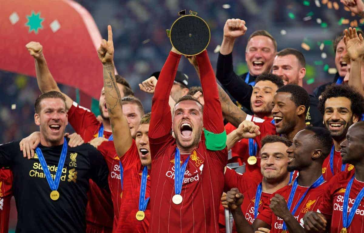 DOHA, QATAR - Saturday, December 21, 2019: Liverpool's captain Jordan Henderson lifts trophy after the FIFA Club World Cup Qatar 2019 Final match between CR Flamengo and Liverpool FC at the Khalifa Stadium. Liverpool won 1-0. (Pic by David Rawcliffe/Propaganda)
