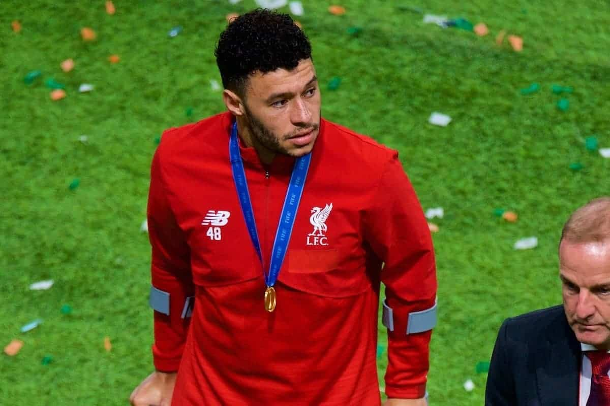 DOHA, QATAR - Saturday, December 21, 2019: Liverpool's Alex Oxlade-Chamberlain walks off with his right foot in a cast after the FIFA Club World Cup Qatar 2019 Final match between CR Flamengo and Liverpool FC at the Khalifa Stadium. Liverpool won 1-0 after extra-time. (Pic by Peter Powell/Propaganda)