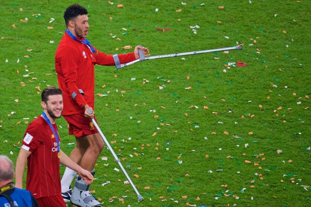 DOHA, QATAR - Saturday, December 21, 2019: Liverpool's Alex Oxlade-Chamberlain dances on crutches after the FIFA Club World Cup Qatar 2019 Final match between CR Flamengo and Liverpool FC at the Khalifa Stadium. Liverpool won 1-0 after extra-time. (Pic by Peter Powell/Propaganda)
