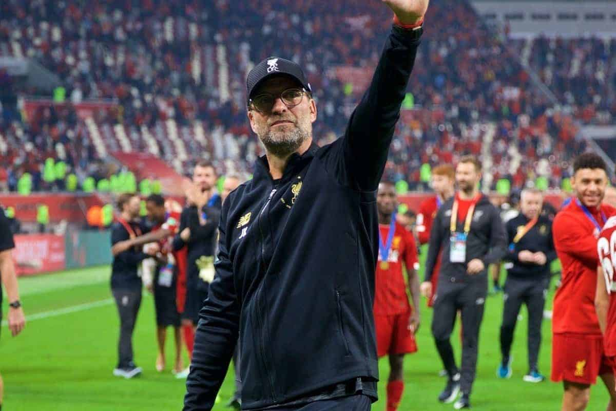 DOHA, QATAR - Saturday, December 21, 2019: Liverpool's manager Jürgen Klopp celebrates after the FIFA Club World Cup Qatar 2019 Final match between CR Flamengo and Liverpool FC at the Khalifa Stadium. Liverpool won 1-0 after extra-time. (Pic by Peter Powell/Propaganda)