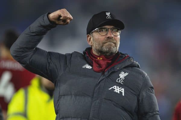 LEICESTER, ENGLAND - Thursday, December 26, 2019: Liverpool's manager Jürgen Klopp celebrates after the FA Premier League match between Leicester City FC and Liverpool FC at the King Power Stadium. Liverpool won 4-0. (Pic by David Rawcliffe/Propaganda)