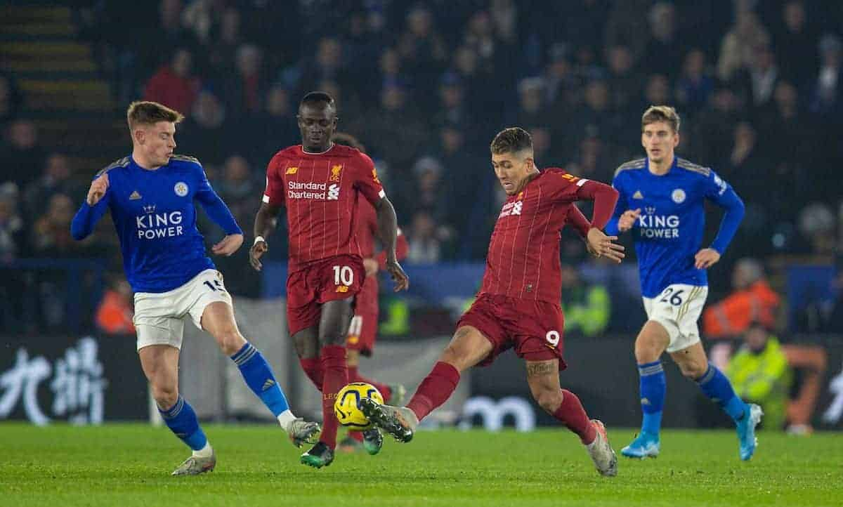 LEICESTER, ENGLAND - Thursday, December 26, 2019: Liverpool's Roberto Firmino during the FA Premier League match between Leicester City FC and Liverpool FC at the King Power Stadium. (Pic by David Rawcliffe/Propaganda)