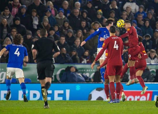 LEICESTER, ENGLAND - Thursday, December 26, 2019: Liverpool's Roberto Firmino scores the first goal during the FA Premier League match between Leicester City FC and Liverpool FC at the King Power Stadium. (Pic by David Rawcliffe/Propaganda)