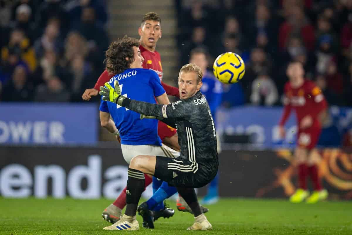 LEICESTER, ENGLAND - Thursday, December 26, 2019: Liverpool's Roberto Firmino sees his shot go wide during the FA Premier League match between Leicester City FC and Liverpool FC at the King Power Stadium. (Pic by David Rawcliffe/Propaganda)