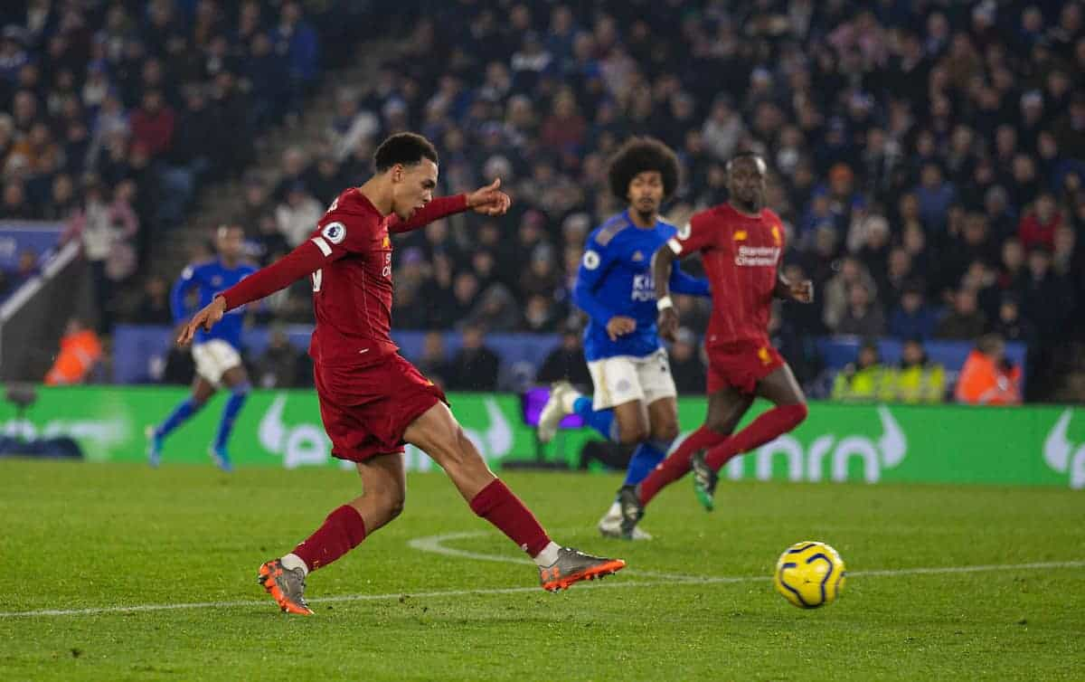 LEICESTER, ENGLAND - Thursday, December 26, 2019: Liverpool's Trent Alexander-Arnold scores the fourth goal during the FA Premier League match between Leicester City FC and Liverpool FC at the King Power Stadium. (Pic by David Rawcliffe/Propaganda)