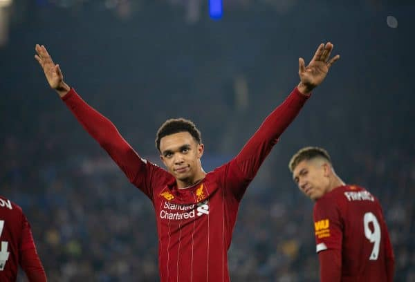 LEICESTER, ENGLAND - Thursday, December 26, 2019: Liverpool's Trent Alexander-Arnold celebrates scoring the fourth goal during the FA Premier League match between Leicester City FC and Liverpool FC at the King Power Stadium. (Pic by David Rawcliffe/Propaganda)
