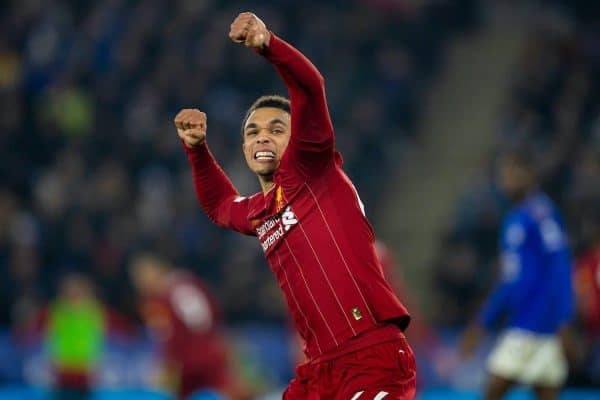 LEICESTER, ENGLAND - Thursday, December 26, 2019: Liverpool's Trent Alexander-Arnold celebrates his side's third goal during the FA Premier League match between Leicester City FC and Liverpool FC at the King Power Stadium. (Pic by David Rawcliffe/Propaganda)