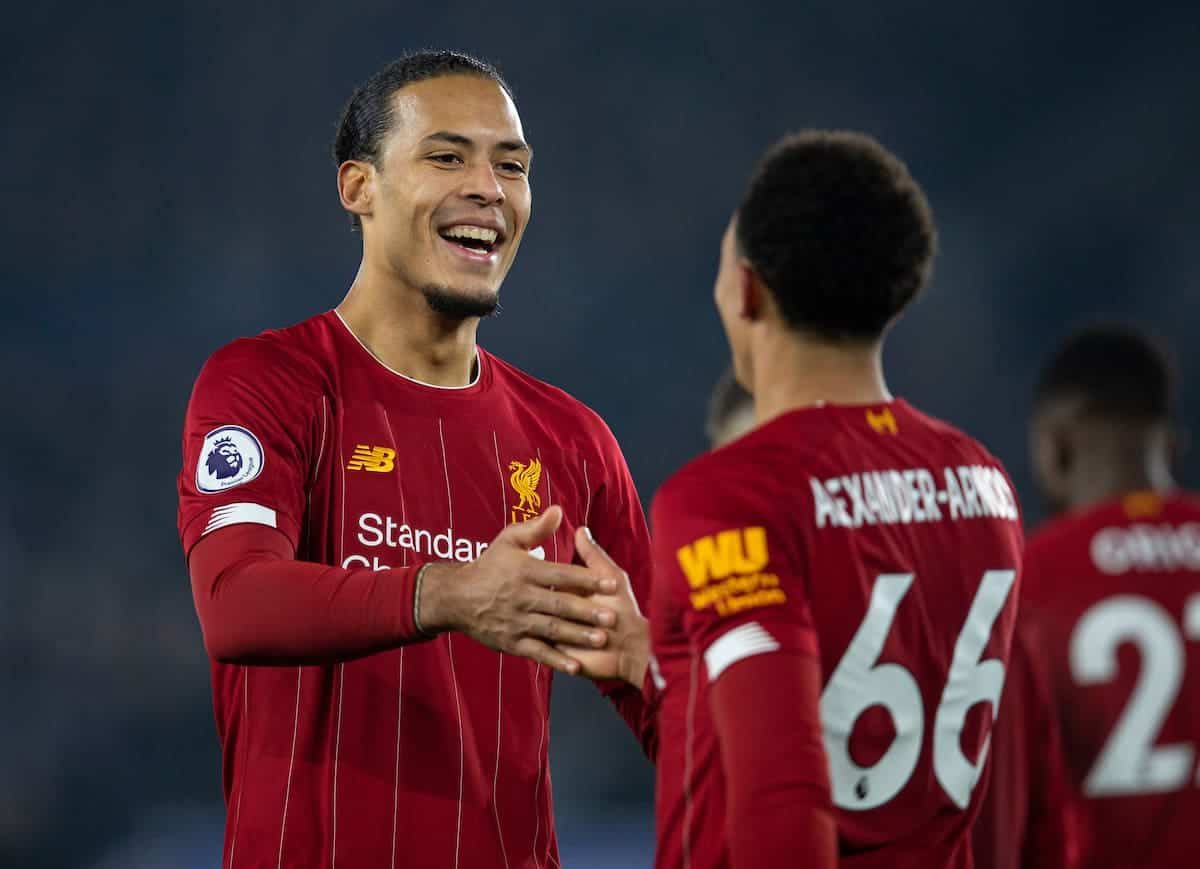 LEICESTER, ENGLAND - Thursday, December 26, 2019: Liverpool's 4amVirgil van Dijk celebrates with goal-scorer Trent Alexander-Arnold during the FA Premier League match between Leicester City FC and Liverpool FC at the King Power Stadium. (Pic by David Rawcliffe/Propaganda)