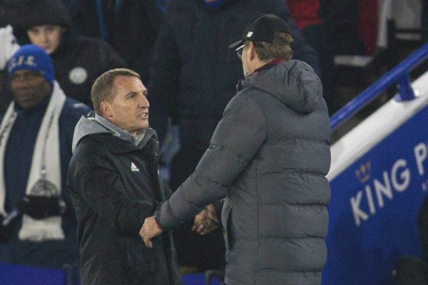 LEICESTER, ENGLAND - Thursday, December 26, 2019: Liverpool's manager Jürgen Klopp (R) shakes hands with Leicester City's manager Brendan Rodgers after the FA Premier League match between Leicester City FC and Liverpool FC at the King Power Stadium. Liverpool won 4-0. (Pic by David Rawcliffe/Propaganda)