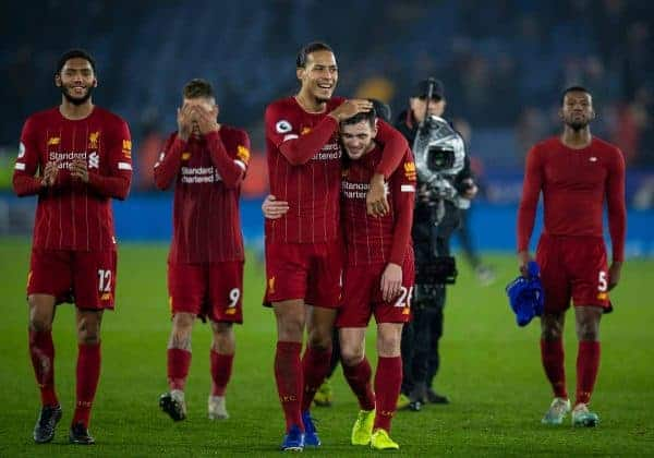 LEICESTER, ENGLAND - Thursday, December 26, 2019: Liverpool's Virgil van Dijk (L) and Andy Robertson celebrate after the FA Premier League match between Leicester City FC and Liverpool FC at the King Power Stadium. Liverpool won 4-0. (Pic by David Rawcliffe/Propaganda)