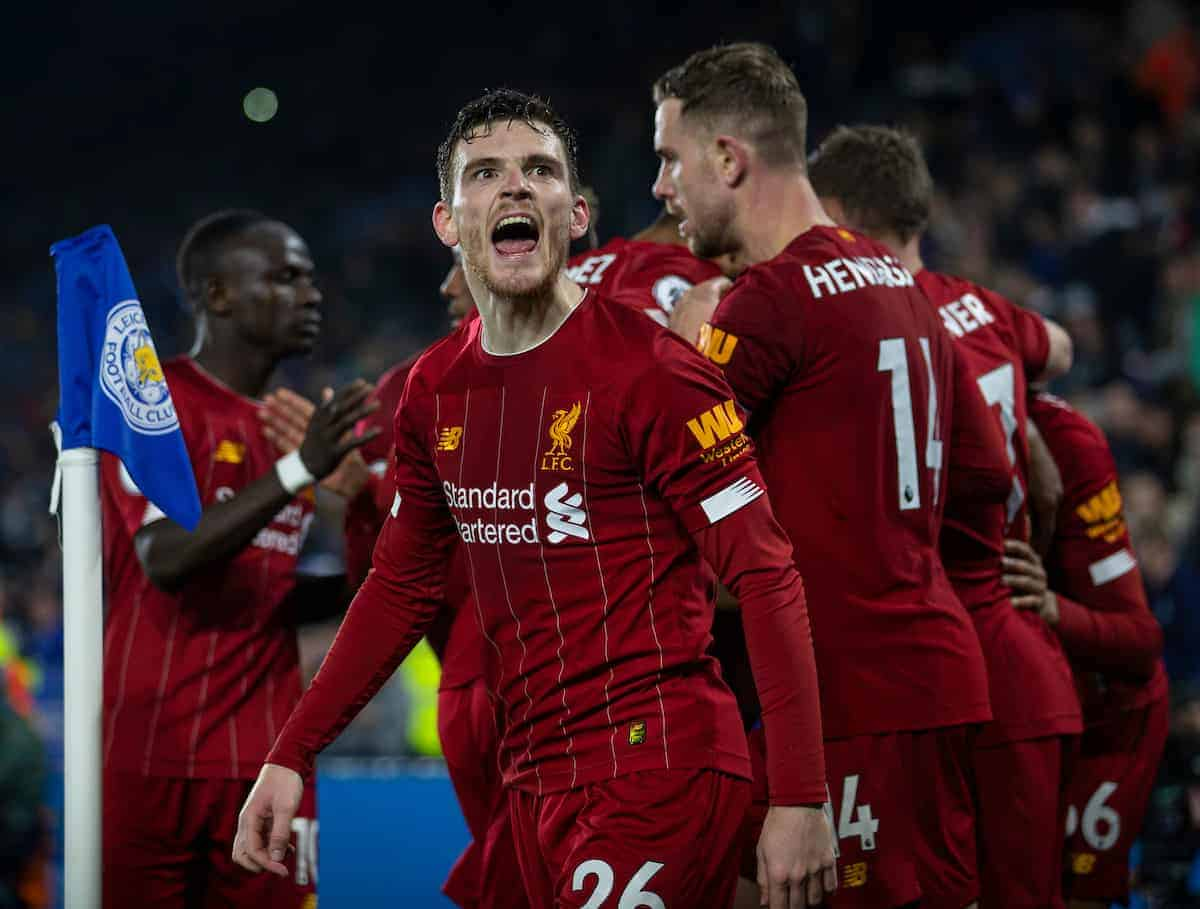LEICESTER, ENGLAND - Thursday, December 26, 2019: Liverpool's Andy Robertson celebrates after his side's fourth goal during the FA Premier League match between Leicester City FC and Liverpool FC at the King Power Stadium. Liverpool won 4-0. (Pic by David Rawcliffe/Propaganda)