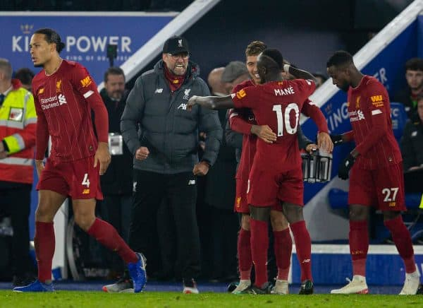 LEICESTER, ENGLAND - Thursday, December 26, 2019: Liverpool's manager Jürgen Klopp celebrates his side's third goal, scored by Roberto Firmino, during the FA Premier League match between Leicester City FC and Liverpool FC at the King Power Stadium. Liverpool won 4-0. (Pic by David Rawcliffe/Propaganda)