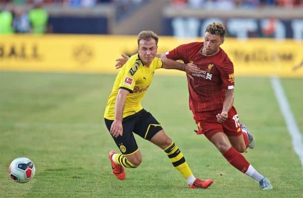 SOUTH BEND, INDIANA, USA - Friday, July 19, 2019: Liverpool's Alex Oxlade-Chamberlain (R) and Borussia Dortmund's Mario Götze during a friendly match between Liverpool FC and Borussia Dortmund at the Notre Dame Stadium on day four of the club's pre-season tour of America. (Pic by David Rawcliffe/Propaganda)