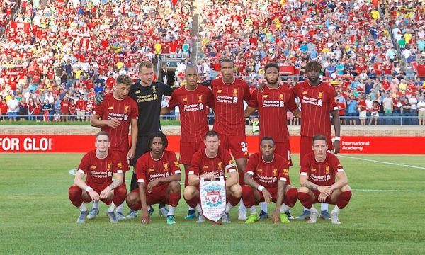 SOUTH BEND, INDIANA, USA - Friday, July 19, 2019: Liverpool players line-up for a team group photograph before a friendly match between Liverpool FC and Borussia Dortmund at the Notre Dame Stadium on day four of the club's pre-season tour of America. (Pic by David Rawcliffe/Propaganda)
