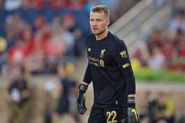 SOUTH BEND, INDIANA, USA - Friday, July 19, 2019: Liverpool's goalkeeper Simon Mignolet during a friendly match between Liverpool FC and Borussia Dortmund at the Notre Dame Stadium on day four of the club's pre-season tour of America. (Pic by David Rawcliffe/Propaganda)