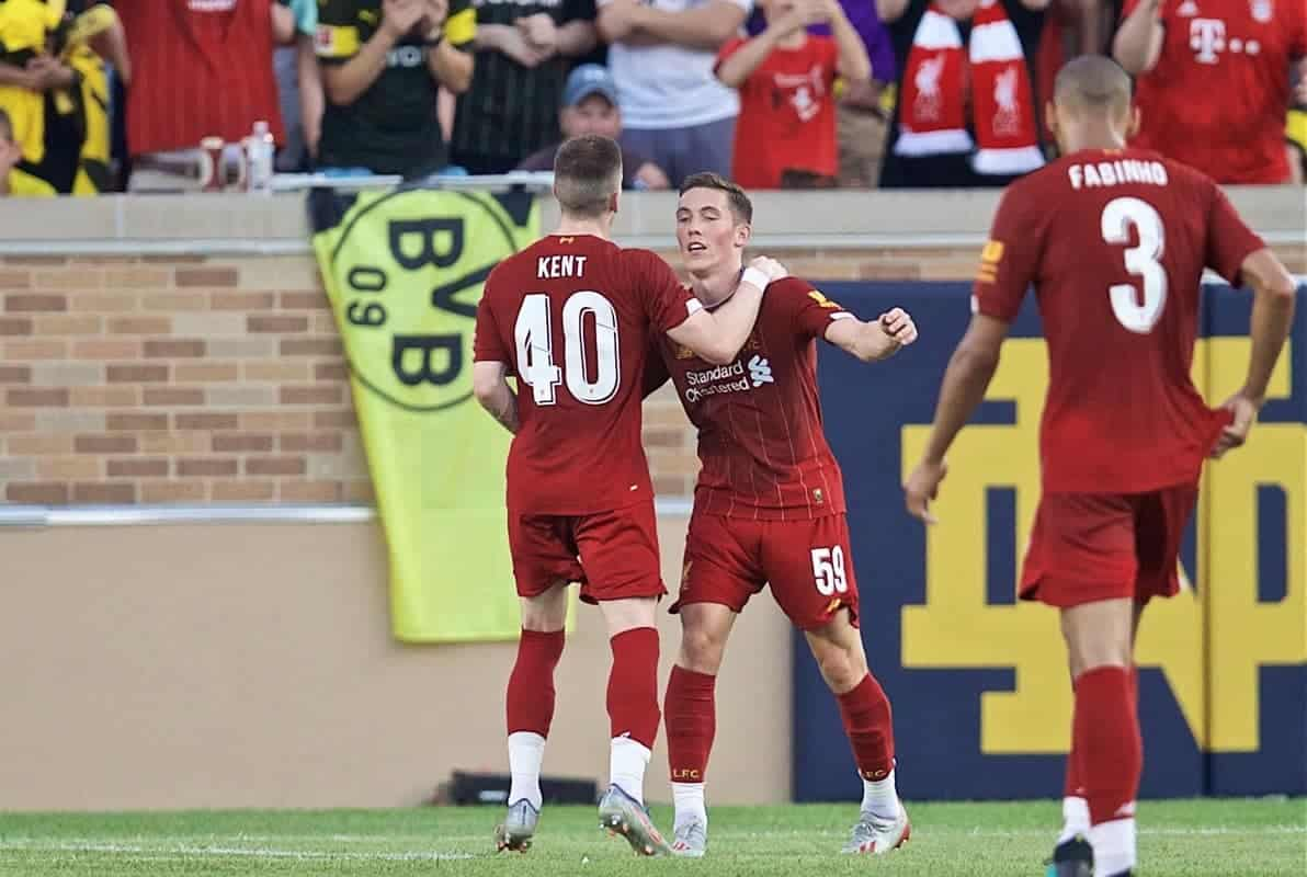 SOUTH BEND, INDIANA, USA - Friday, July 19, 2019: Liverpool's Harry Wilson celebrates scoring the first goal during a friendly match between Liverpool FC and Borussia Dortmund at the Notre Dame Stadium on day four of the club's pre-season tour of America. (Pic by David Rawcliffe/Propaganda)SOUTH BEND, INDIANA, USA - Friday, July 19, 2019: Liverpool's Harry Wilson celebrates scoring the first goal during a friendly match between Liverpool FC and Borussia Dortmund at the Notre Dame Stadium on day four of the club's pre-season tour of America. (Pic by David Rawcliffe/Propaganda)