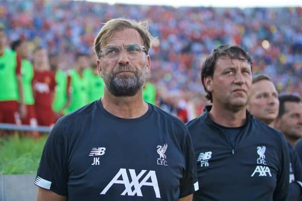 SOUTH BEND, INDIANA, USA - Friday, July 19, 2019: Liverpool's manager Jürgen Klopp before a friendly match between Liverpool FC and Borussia Dortmund at the Notre Dame Stadium on day four of the club's pre-season tour of America. (Pic by David Rawcliffe/Propaganda)