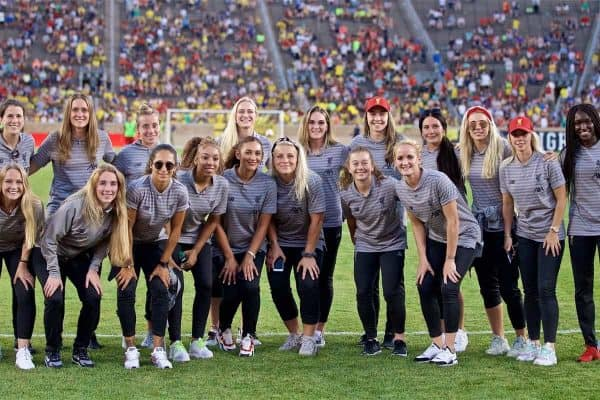 SOUTH BEND, INDIANA, USA - Friday, July 19, 2019: Liverpool Women's team pose for a team photo during a friendly match between Liverpool FC and Borussia Dortmund at the Notre Dame Stadium on day four of the club's pre-season tour of America. (Pic by David Rawcliffe/Propaganda)