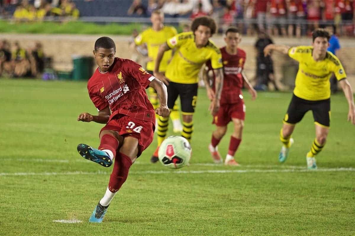 Liverpool's Rhian Brewster scores the second goal from a penalty kick during a friendly match between Liverpool FC and Borussia Dortmund at the Notre Dame Stadium on day four of the club's pre-season tour of America. (Pic by David Rawcliffe/Propaganda)