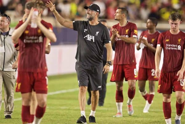 SOUTH BEND, INDIANA, USA - Friday, July 19, 2019: Liverpool's manager Jürgen Klopp waves to supporter after a friendly match between Liverpool FC and Borussia Dortmund at the Notre Dame Stadium on day four of the club's pre-season tour of America. Dortmund won 3-2. (Pic by David Rawcliffe/Propaganda)