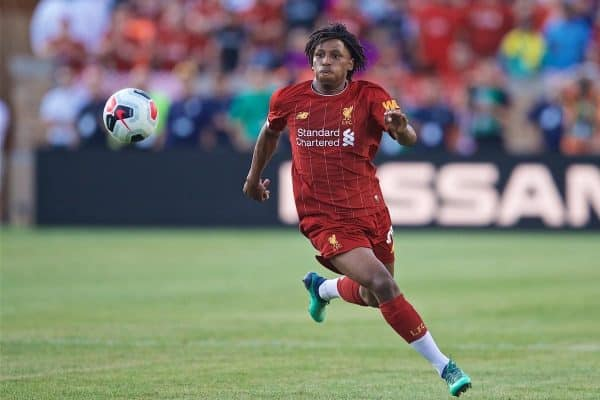 SOUTH BEND, INDIANA, USA - Friday, July 19, 2019: Liverpool's Yasser Larouci during a friendly match between Liverpool FC and Borussia Dortmund at the Notre Dame Stadium on day four of the club's pre-season tour of America. (Pic by David Rawcliffe/Propaganda)