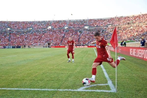 SOUTH BEND, INDIANA, USA - Friday, July 19, 2019: Liverpool's Harry Wilson take a corner-kick during a friendly match between Liverpool FC and Borussia Dortmund at the Notre Dame Stadium on day four of the club's pre-season tour of America. (Pic by David Rawcliffe/Propaganda)