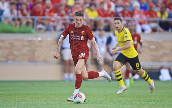 SOUTH BEND, INDIANA, USA - Friday, July 19, 2019: Liverpool's Harry Wilson during a friendly match between Liverpool FC and Borussia Dortmund at the Notre Dame Stadium on day four of the club's pre-season tour of America. (Pic by David Rawcliffe/Propaganda)