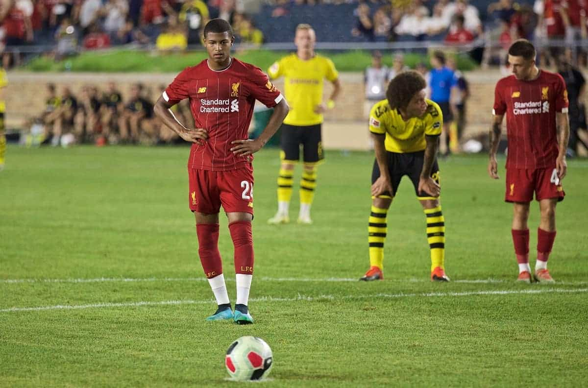 Liverpool's Rhian Brewster prepares to take a penalty during a friendly match between Liverpool FC and Borussia Dortmund at the Notre Dame Stadium on day four of the club's pre-season tour of America. (Pic by David Rawcliffe/Propaganda)