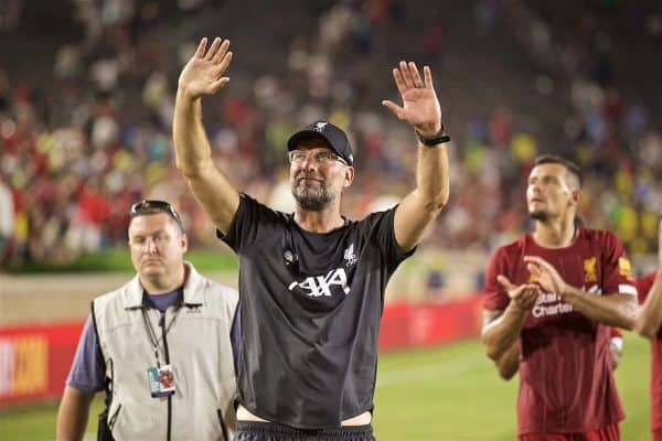 SOUTH BEND, INDIANA, USA - Friday, July 19, 2019: Liverpool's manager Jürgen Klopp waves to the supporters after a friendly match between Liverpool FC and Borussia Dortmund at the Notre Dame Stadium on day four of the club's pre-season tour of America. (Pic by David Rawcliffe/Propaganda)