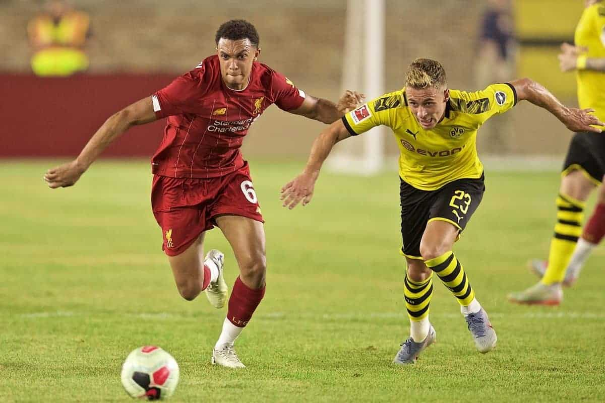 Liverpool's Trent Alexander-Arnold (L) and Borussia Dortmund's Thorgan Hazard during a friendly match between Liverpool FC and Borussia Dortmund at the Notre Dame Stadium on day four of the club's pre-season tour of America. (Pic by David Rawcliffe/Propaganda)