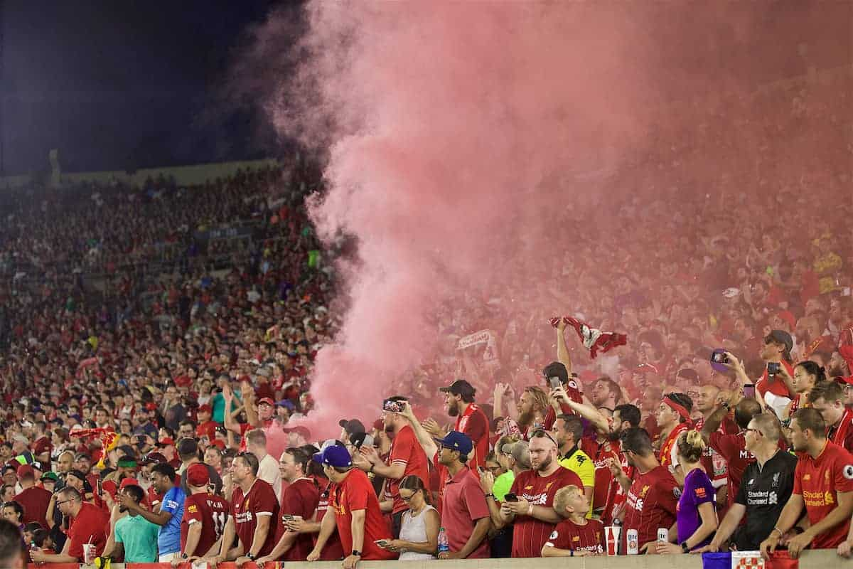 SOUTH BEND, INDIANA, USA - Friday, July 19, 2019: Liverpool supporters set off a red smoke bomb during a friendly match between Liverpool FC and Borussia Dortmund at the Notre Dame Stadium on day four of the club's pre-season tour of America. (Pic by David Rawcliffe/Propaganda)