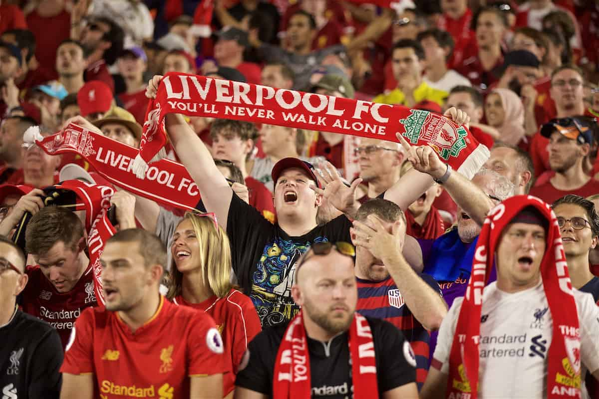 SOUTH BEND, INDIANA, USA - Friday, July 19, 2019: Liverpool supporters during a friendly match between Liverpool FC and Borussia Dortmund at the Notre Dame Stadium on day four of the club's pre-season tour of America. (Pic by David Rawcliffe/Propaganda)