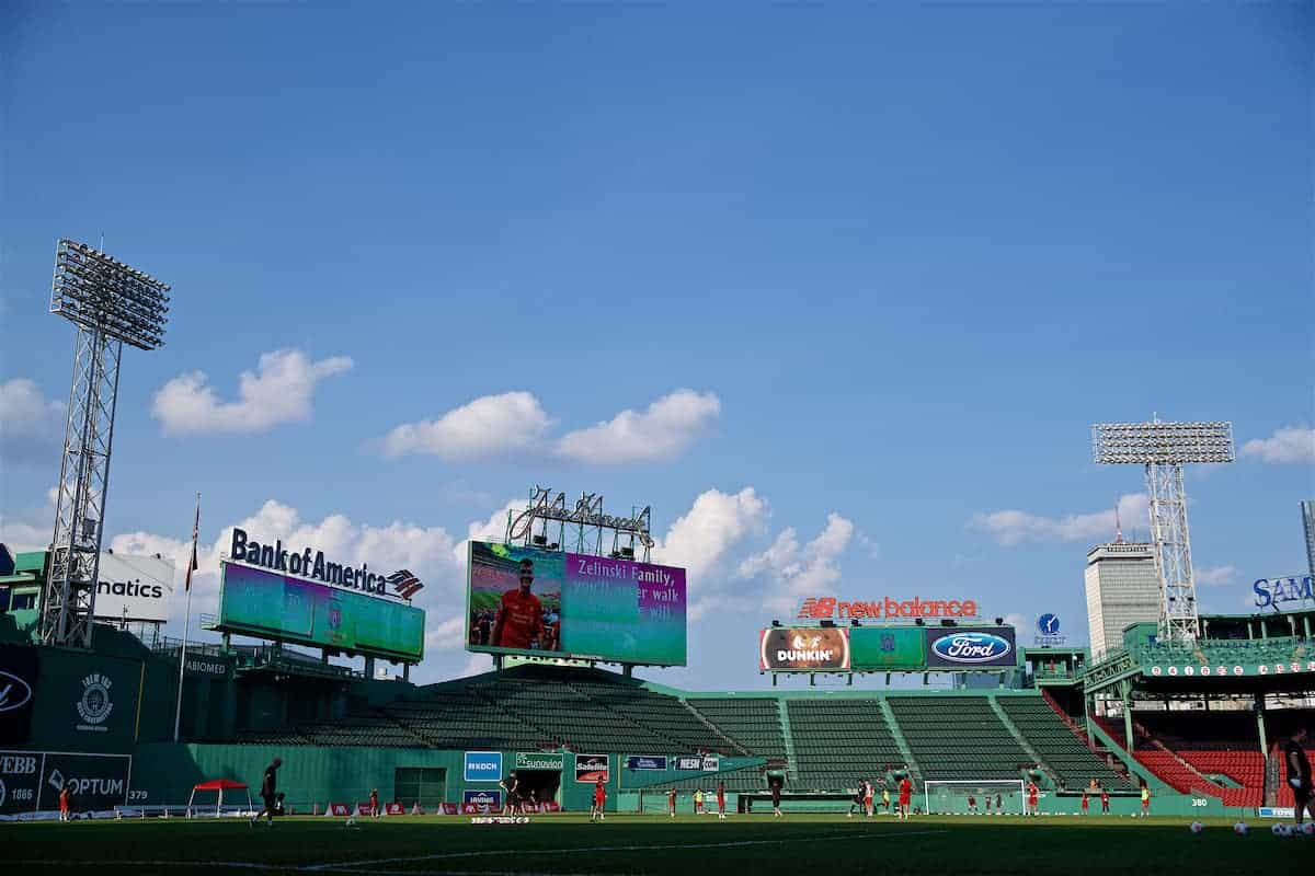 Liverpool players during an open training session at Fenway Park ahead of a friendly against Seville on day five of the club's pre-season tour of America. (Pic by David Rawcliffe/Propaganda)