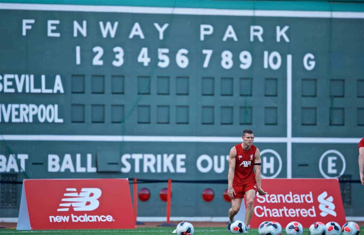 BOSTON, MASSACHUSETTS, USA - Saturday, July 20, 2019: Liverpool's James Milner during an open training session at Fenway Park ahead of a friendly against Seville on day five of the club's pre-season tour of America. (Pic by David Rawcliffe/Propaganda)