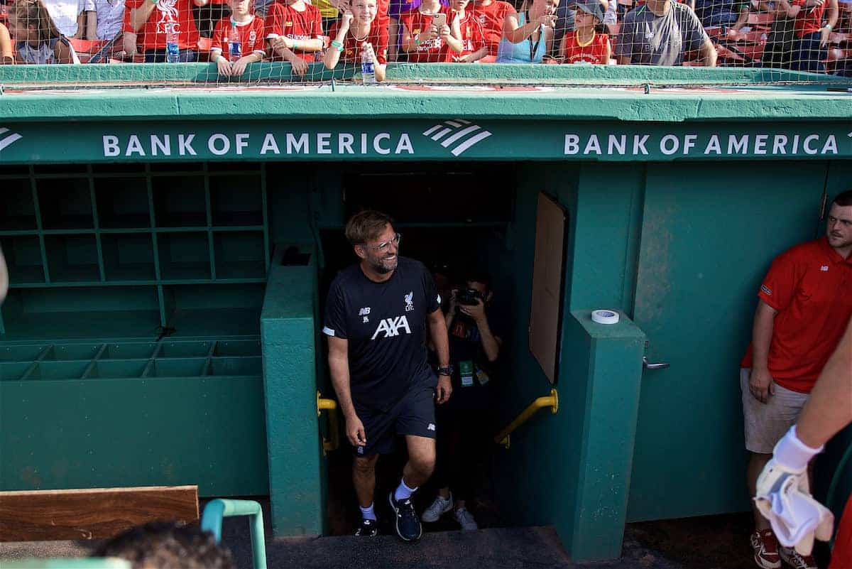 BOSTON, MASSACHUSETTS, USA - Saturday, July 20, 2019: Liverpool's manager Jürgen Klopp walks out for an open training session at Fenway Park ahead of a friendly against Seville on day five of the club's pre-season tour of America. (Pic by David Rawcliffe/Propaganda)