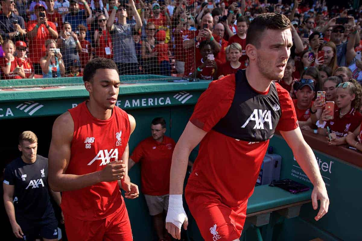BOSTON, MASSACHUSETTS, USA - Saturday, July 20, 2019: Liverpool's Trent Alexander-Arnold and Andy Robertson walk out for an open training session at Fenway Park ahead of a friendly against Seville on day five of the club's pre-season tour of America. (Pic by David Rawcliffe/Propaganda)