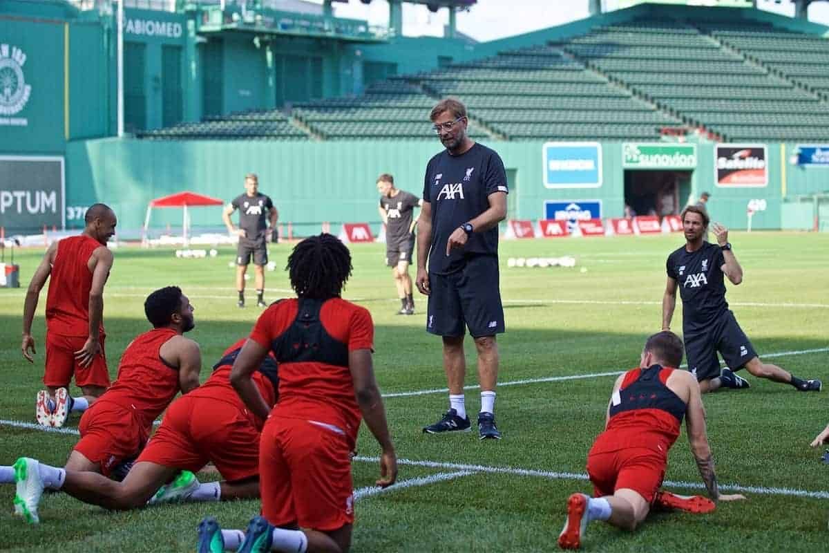 Liverpool's manager Jürgen Klopp during an open training session at Fenway Park ahead of a friendly against Seville on day five of the club's pre-season tour of America. (Pic by David Rawcliffe/Propaganda)