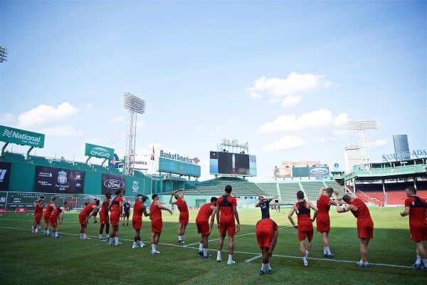BOSTON, MASSACHUSETTS, USA - Saturday, July 20, 2019: Liverpool's xxxx during an open training session at Fenway Park ahead of a friendly against Seville on day five of the club's pre-season tour of America. (Pic by David Rawcliffe/Propaganda)