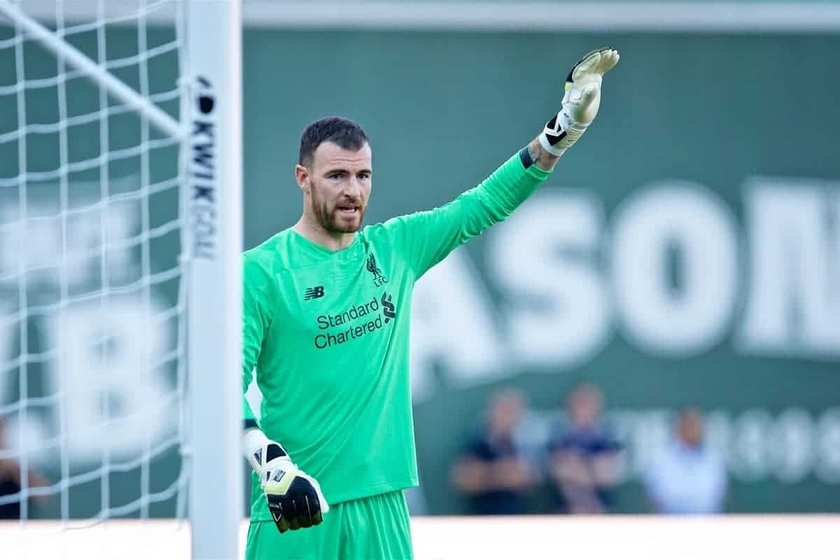 BOSTON, MASSACHUSETTS, USA - Sunday, July 21, 2019: Liverpool's goalkeeper Andy Lonergan during a friendly against Sevilla FC at Fenway Park on day six of the club's pre-season tour of America. (Pic by David Rawcliffe/Propaganda)