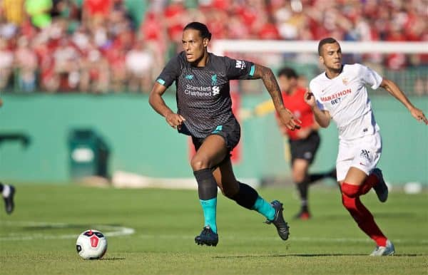 Liverpool's Virgil van Dijk during a friendly against Sevilla FC at Fenway Park on day six of the club's pre-season tour of America. (Pic by David Rawcliffe/Propaganda)