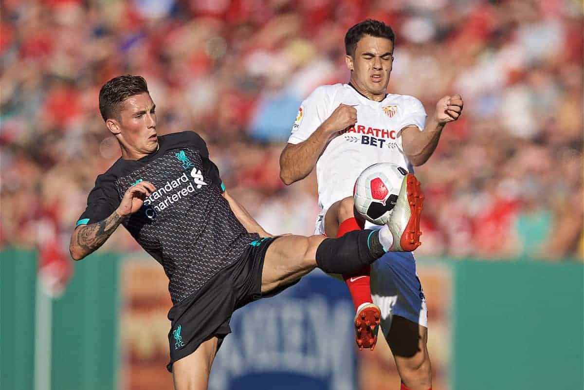 Liverpool's Harry Wilson during a friendly against Sevilla FC at Fenway Park on day six of the club's pre-season tour of America. (Pic by David Rawcliffe/Propaganda)