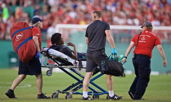 Liverpool's Yasser Larouci is taken off on a stretcher during a friendly between Liverpool FC and Sevilla FC at Fenway Park on day six of the club's pre-season tour of America. (Pic by David Rawcliffe/Propaganda)