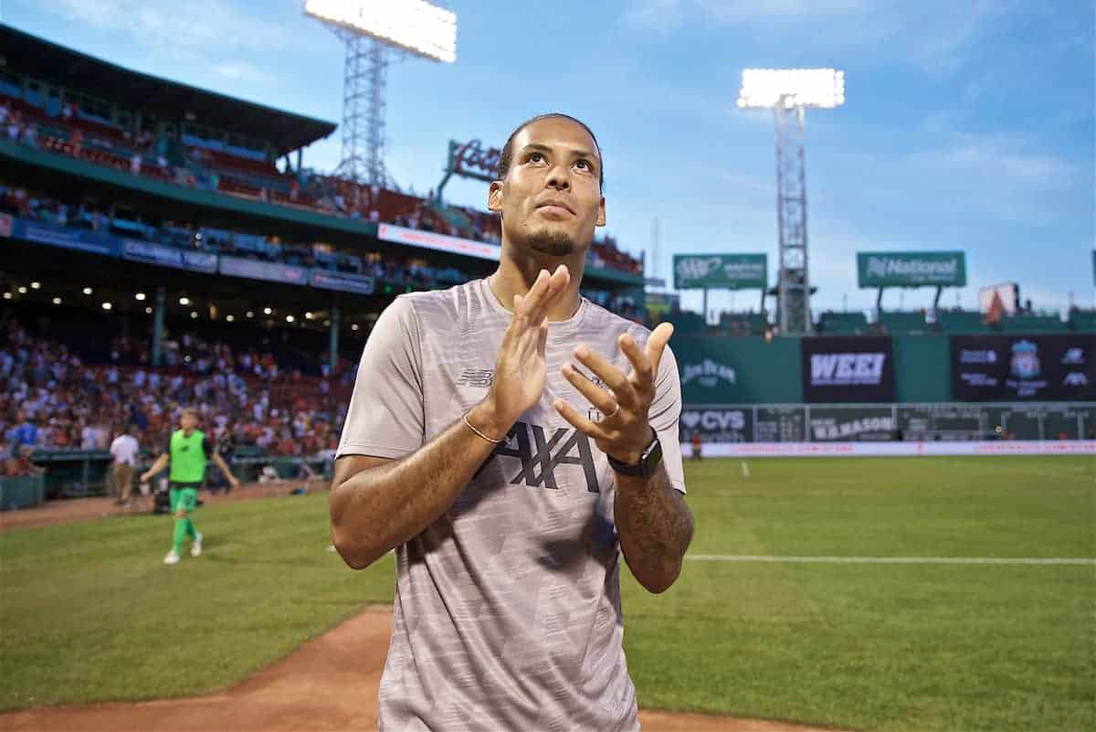 BOSTON, MASSACHUSETTS, USA - Sunday, July 21, 2019: Liverpool's Virgil van Dijk after a friendly between Liverpool FC and Sevilla FC at Fenway Park on day six of the club's pre-season tour of America. (Pic by David Rawcliffe/Propaganda)