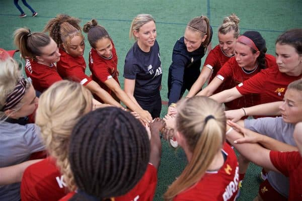 BOSTON, MASSACHUSETTS, USA - Monday, July 22, 2019: Liverpool's manager Vicky Jepson before a friendly match between Liverpool FC Women and Metropolitan Conference All Stars at Jordan Field at the Harvard Stadium on day seven of the club's pre-season tour of America. (Pic by David Rawcliffe/Propaganda)