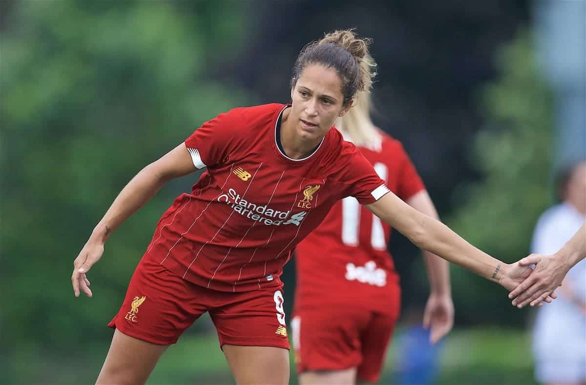 BOSTON, MASSACHUSETTS, USA - Monday, July 22, 2019: Liverpool's Courtney Sweetman-Kirk celebrates scoring the first goal during a friendly match between Liverpool FC Women and Metropolitan Conference All Stars at Jordan Field at the Harvard Stadium on day seven of the club's pre-season tour of America. (Pic by David Rawcliffe/Propaganda)