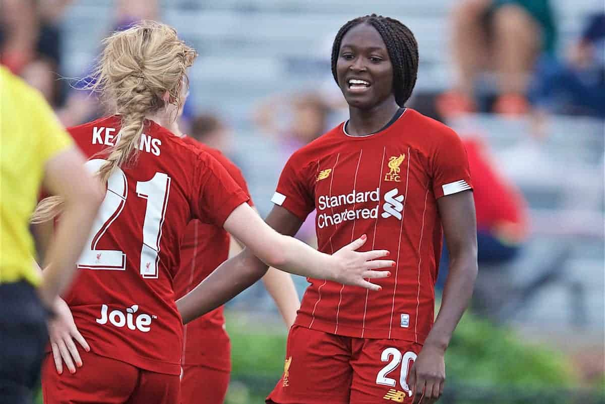 BOSTON, MASSACHUSETTS, USA - Monday, July 22, 2019: Liverpool's Rinsola Babajide (R) celebrates scoring the third goal during a friendly match between Liverpool FC Women and Metropolitan Conference All Stars at Jordan Field at the Harvard Stadium on day seven of the club's pre-season tour of America. (Pic by David Rawcliffe/Propaganda)