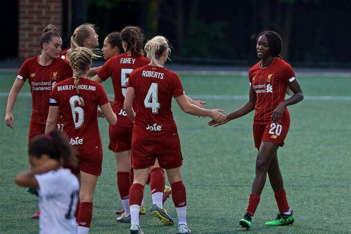 BOSTON, MASSACHUSETTS, USA - Monday, July 22, 2019: Liverpool's Rinsola Babajide (R) celebrates scoring the fifth goal during a friendly match between Liverpool FC Women and Metropolitan Conference All Stars at Jordan Field at the Harvard Stadium on day seven of the club's pre-season tour of America. (Pic by David Rawcliffe/Propaganda)